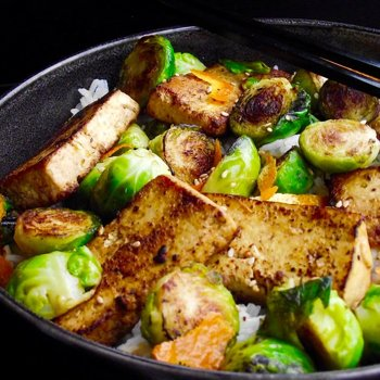 Charred tofu and Brussels Sprouts with Ginger and Tangerine