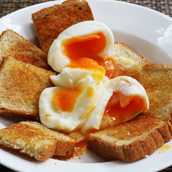 Soft boiled eggs on toast - bled