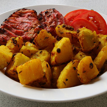 Served with masala potatoes.