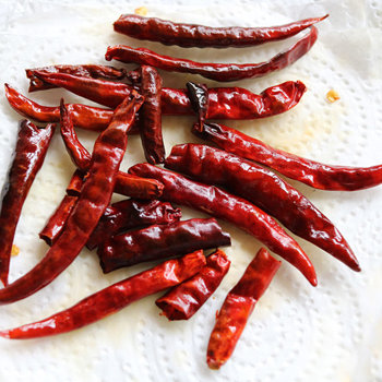 Fried dried chilies.