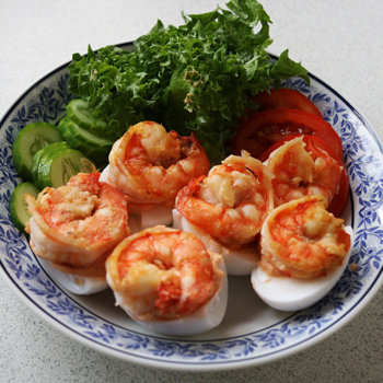 Egg and prawn tapas.