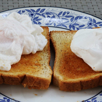 Poached duck eggs on toast.