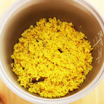 Cooking yellow rice.