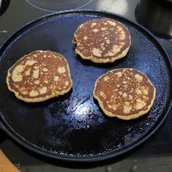 Buckwheat blini cooking