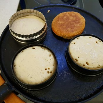 Crumpets on the griddle