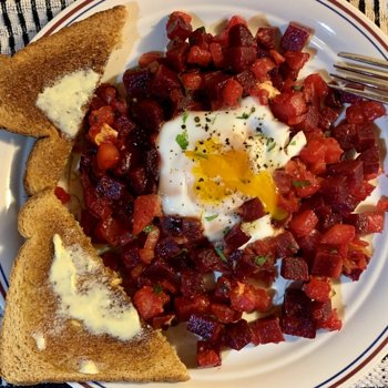 Beet-And-Turnip Hash With Runny Egg