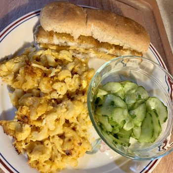Fish Sandwich, Mac-And-Cheese, And Cukes