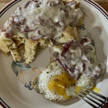 Biscuits And Gravy With A Fried Egg