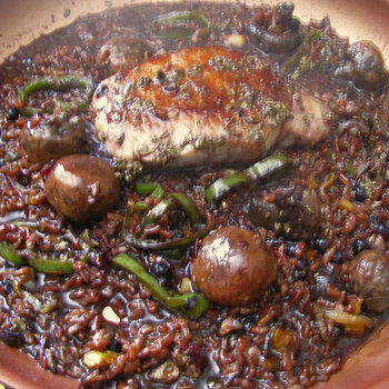 Pork Chop with Red Rice in Currant Wine Sauce