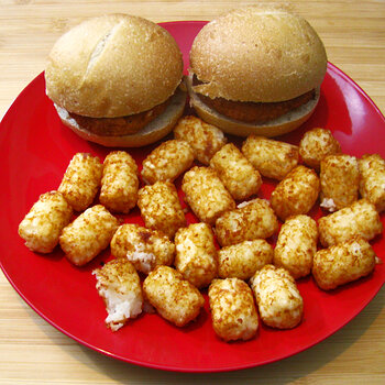 Breaded Chicken Sandwiches with Tater Tots