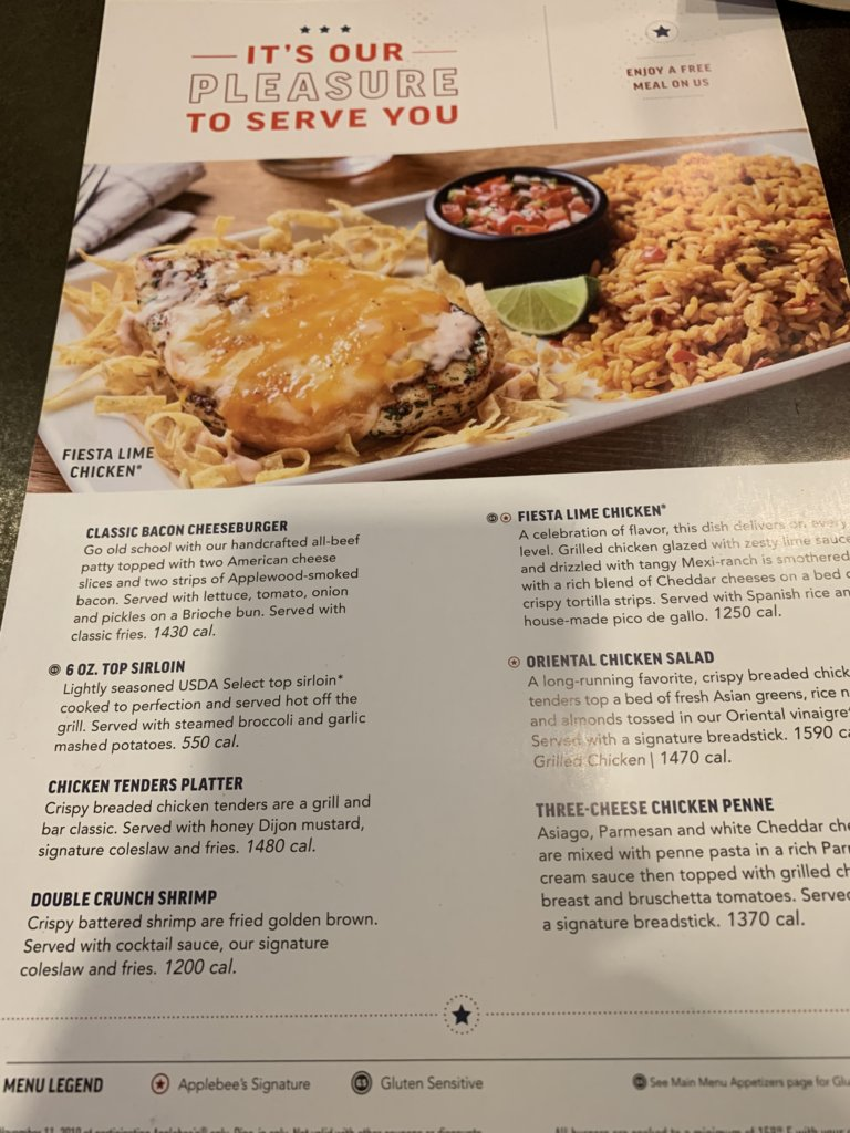 Applebee's Vets' Menu