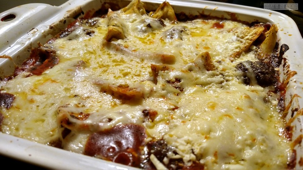 baked ravioli from oven