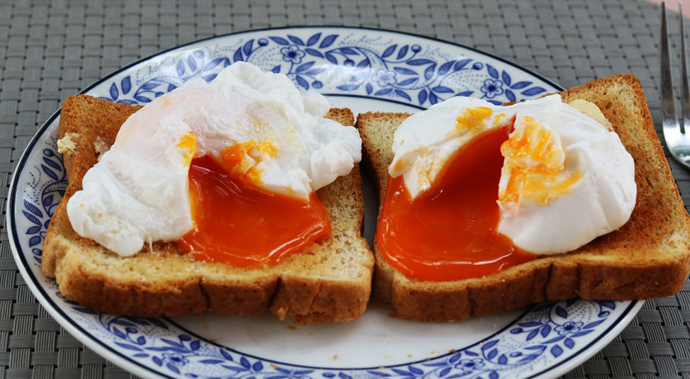 Poached duck eggs on toast bled.